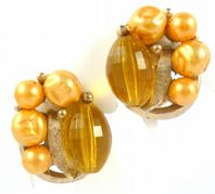 Vintage Amber Coloured Faux Pearl And Bead Clip On Earrings.